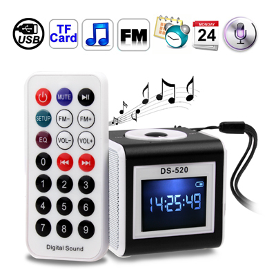 Mini LCD Screen Speaker with Remote Control Support FM Radio TF Card Time Calendar Alarm Clock Recording Function(China (Mainland))