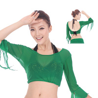 2014 tops dance shirts belly shirts crop/cropped women Indian dance belly dance clothes top sexy yarn long-sleeve sunscreen
