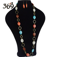2013 fashion multicolor resin beads long Necklace Statement Necklace for women