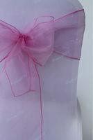 100pcs Fuchsia  Organza Chair Sashes Bow Wedding Cover Banquet, fuchsia organza wedding decoraiton