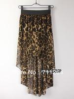 leopard Women Sexy Asym Hem Chiffon Skirt High Low Asymmetrical Long Maxi  Elastic Waist skirt
