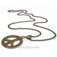 Fashion New Vintage Bronze Peace Love Symbol Alloy Pendant 4.5*4.1 cm fancy antiwar Necklace 61783