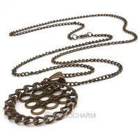 5pcs Wholesale Vintage Bronze Round Pendant 4.9*4.9cm chain 72cm Alloy girl necklace 61785