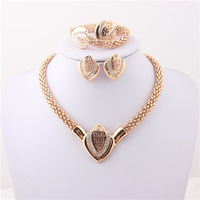 African Gold Plated Mysterious Charming Fashion Romantic Bridal Fashion Necklace Cyrystal Vintage Women Costume Jewlery Sets