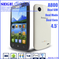 New arrival Name brand Lenovo A800 MTK6577ATA Dual Core Dual SIM 4.5 inch IPS display 512RAM 4G ROM GSM/WCDMA smart phones gifts