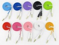2015 10X Colorful Noodle AUX Stereo Audio Cable Male to Male for iPhone Samsung