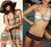 1SET Womens Wave Stripes Push Up Bikini Set Beach Cover Up Dress Swimsuit Padded