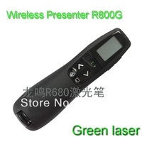 Free shipping Professional Presenter R800 2.4G 20m  Green presenter ,Green laser pointer LCD timer USB wireless receiver