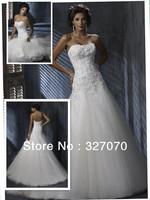 Free shipping 2013Hot Sale 100% Guarantee Tulle Fabric Custom Made Wedding Dress