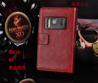 High Quality wallet leather case for nokia n8 phone vintage holsteins flip cover for nokia n8  mobile phone free shipping