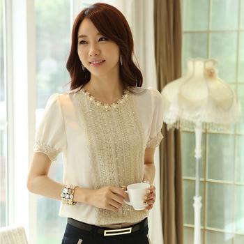 FREE Shipping Korean Style Women Lace Tops 2014 Summer Fashion Elegant OL Slim Short Sleeve Chiffon Shirt With Beading Flowers