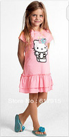 Hot Hello Kitty Girl's one piece dress cake lace dress Cartoon kat printing Princess dress Free shipping