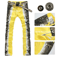 2013 summer deisigner men's cotton snake printed jeans  casual male  yellow orange denim printed trousers colored jean pants