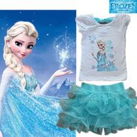 2014 Girls clothing set Frozen Princess Elsa Dress + T shirt 2 Pcs Set 3-8Age Sky Blue Layered Tutu Dress Sets Frozen