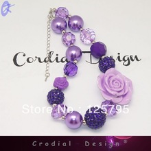 Free Shipping Purple Rose Flower Chunky Bubblegum Beads Necklace For Kids(China (Mainland))