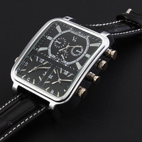 Free Shipping  V6 Three Working Tinepiece Zone PU Leather Sport  Timer Watches For Men