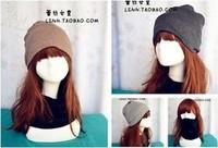 New fashion 3color winter warm cotton slouchy beanie hat hats cool beanies for women men Khaki Gray Black scarf