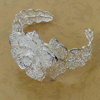 B164 Hot Sell! Wholesale 925 silver bangle bracelet, 925 silver fashion jewelry, Flower Bangle/bypakpwath