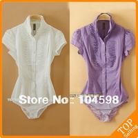 Piano Pleat Short sleeve fashion career business OL tops new style body shirt Purple ladies' blouse slim bodysuit shirt QLT29