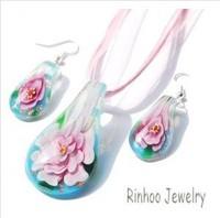 Fashion  Murano Glass Flower Inside Gold Dust Pear Shape  Pendant  Necklace Earring Sets Jewelry