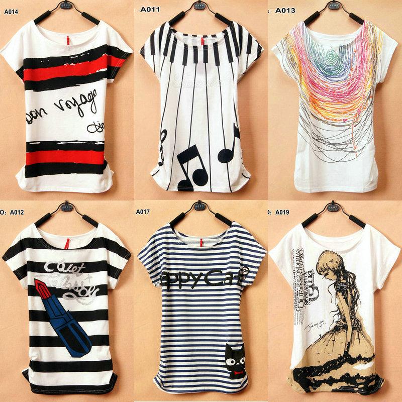 2013 New T-Shirt Women 40 models tees type Loose T-shirts Short Sleeve Free Shipping Women's Printed T Shirts(China (Mainland))