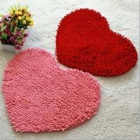 Chenille bedroom carpet heart shaped doormat waste-absorbing slip-resistant bath mats mat