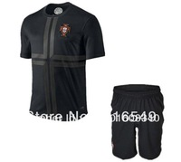Best quality Portugal away black soccer uniform kits ,Portugal black soocer jerseys&short. 10set/lot free shipping