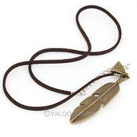 Fashion Retro Bronze Feather Pendant long 46 cm new necklace 61791