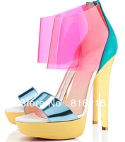 Free Shipping Women New Design Pink Transparent High Heel Sandals Red Sole Sandals