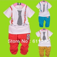 Boy hot item tie print T-shirt and short Pants 2 pcs/set summer suit,boy summer casual clothes free shipping 4 sets/lot
