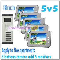 Multi-unit 8inch color video door phones intercom systems/ for 5 apartments door bells (5 keys camera add 5 monitors) Drop ship