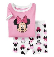 2013 new fashion short sleeves girls minnie mouse sleepwear kids' cotton pajamas 6sets/lot free shipping