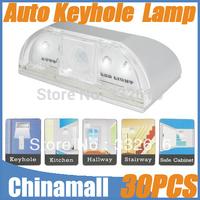 Wholesale New Arrival Auto PIR Keyhole Motion Temperature Sensor Detector Door Gate LED Light Lamp Free Express 30pcs/lot
