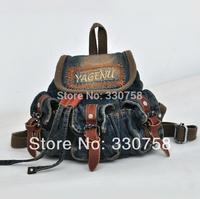 Fashion Women's Vintage Casual Denim Bag With Genuine Leather Hasp School Bag Cute Mini Handbag For Lovely Girl Free Shipping