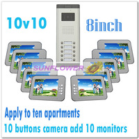 Multi-unit 8inch color video intercom systems/Video door phones for 10 apartments/villas (10 keys camera add 10 monitors)