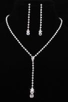 Korean Stylish Shiny Crystal Rhinestone Tassel Necklace Earring Set Silver Plated Woman Bridal Party  Decoration Jewelry