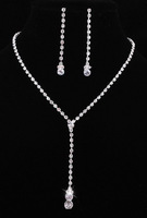 Korean Stylish Shiny Crystal Rhinestone Tassel Necklace Earring Set Silver Plated Woman Bridal Party  Decoration Jewelry