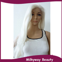 Free shipping heat resistant synthetic lace front wig white #1001body wave white wig