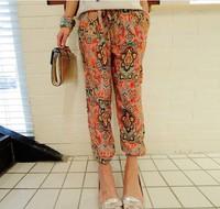 2015 New Women Auturn Printed Chiffon Casual Trousers Girls Comfortable Wide Leg Loose Harem Pants Ladies China Cheap Clothing