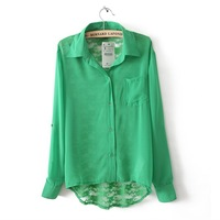 New Sexy Women's Long Sleeve Lace Shirt Hollow Out Lady Blouse,S ,M ,L,Black,Green,White,1060