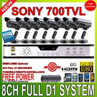 Upgrade Full 8CH D1 960H HDMI 1080P H.264 VGA DVR kit  sony CCD 700tvl 36IR video outdoor camera CCTV system mobile surveillance