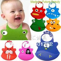 free shipping 5pcs/lot waterproof silicone baby bib animal BIB for babies girl and boy fashion designs 2013