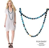 2013 new F&D blue geometric bead necklace, new arrival ,free shipping,wholesale