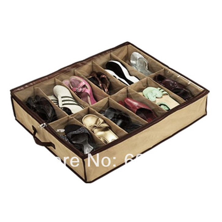 1pc 12Pair Shoes Storage Organizer Holder Shoe Organiser Bag Box Under Bed Closet Free Shipping Wholesale(China (Mainland))