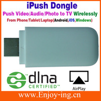 Wholesale Wireless DLNA Dongle media streaming  to iOS support Airplay for iPhone to push Music Video Pictures to TV 100pcs/Lot
