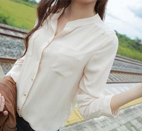 New Brand 2014 Solid Women Blouses/Spring V-neck Chiffon Women Shirts/Brand Long Sleeve Tops Women Clothing