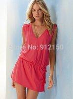 2014 New Fashion Sexy Deep V Neck Women's Swimwear Backless Beach Dress Swimsuit Cover Up Bikini Holiday Clothes