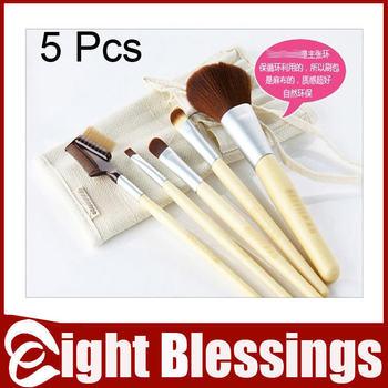 6 pcs Beauty Bamboo Cosmetic Facial Make up Mini Brush Kit Makeup Brushes Tools Set Eyeliner Powder Eyebrow Blusher Tools Bag