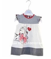 GD010 1piece retail baby girls summer dress polka dot dog printed cartoon dress for girl kids cotton clothes cute dress