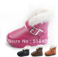 Free shipping  hot sale Children's cloth with soft nap of PU waterproof boots with warm in winter,Boys and girls snow boots